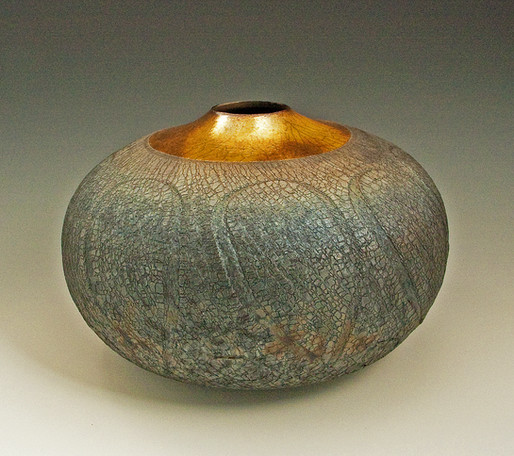 gold over oval crackle raku vase.jpg