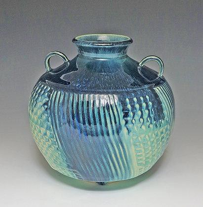 Blue & Green Waffle Vase