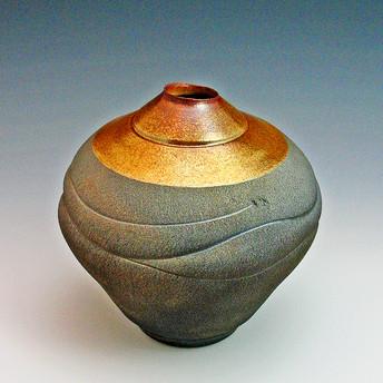 wavey gold red raku vase.jpg