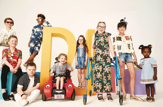 Zebedee models Joseph (3rd left), and Mia (5th left) feature in the new River Island campaign