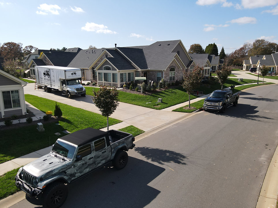 Aerial view of Movers Co. Trucks. The Movers Co. The best moving and storage company in Boone, NC