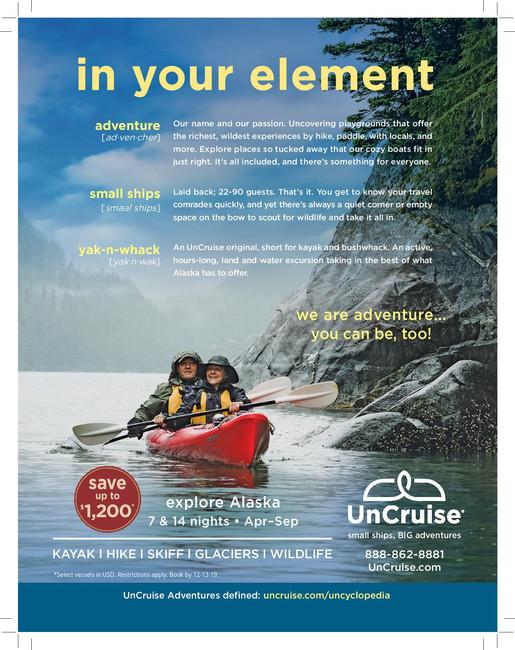 UnCruise Adventures Alaska Air ad