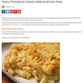 """Host a Throwback School Cafeteria Dinner Party"" article with Allrecipes"