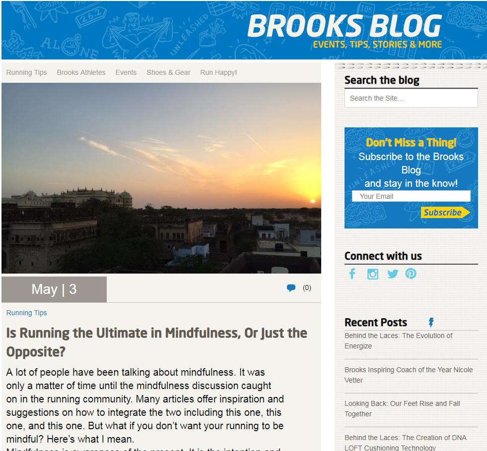 Brooks Running blog