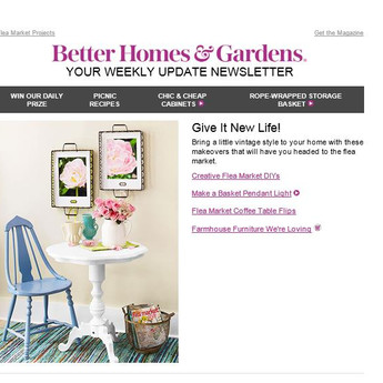Decorating consumer email for Better Homes & Gardens