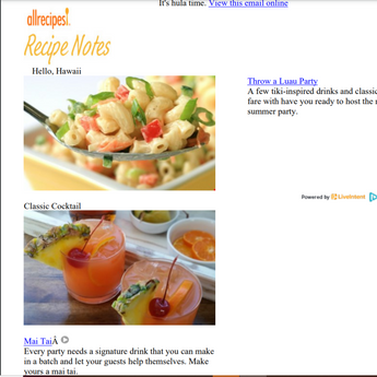 """Luau Party"" consumer email with Allrecipes"