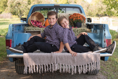 Brothers sitting in truck