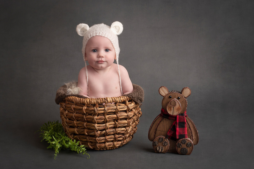 Toddler boy studio portrait