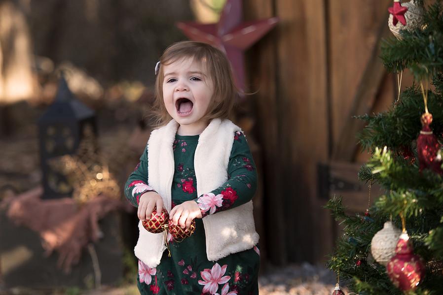 Toddler girl at Christmas