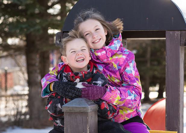Siblings Winter Portrait