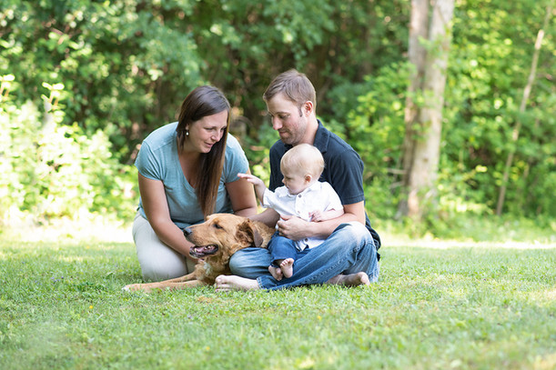 Family with dog portrait