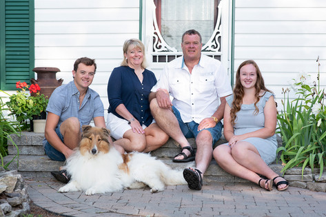 Family of 4 with dog