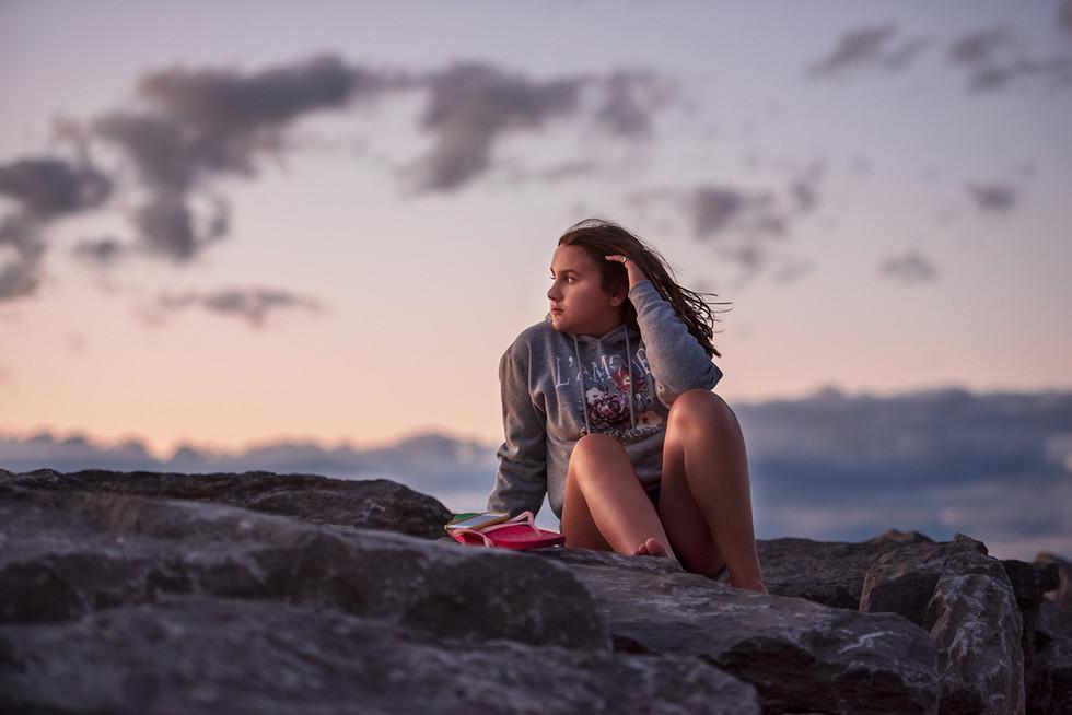 Teen girl sunset portrait
