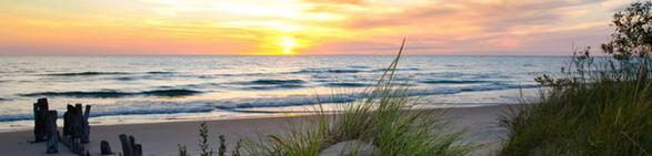 Elberta Bluffs Beach at Sunset