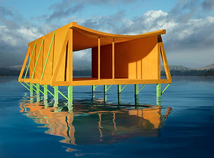 Orange House on Water