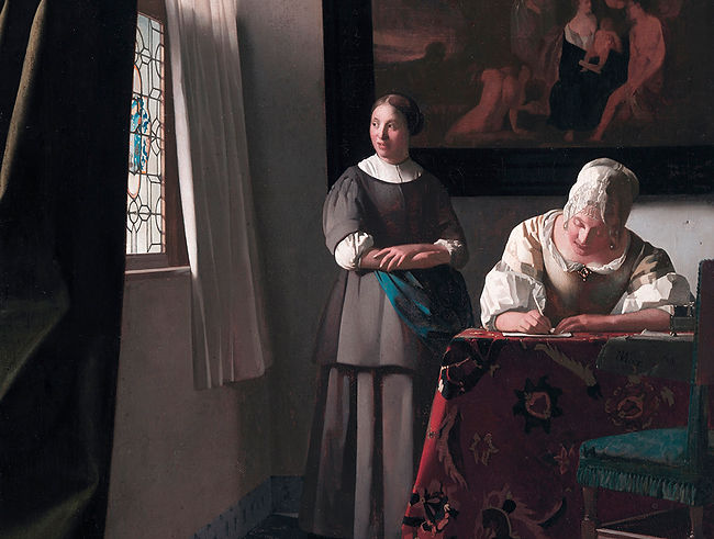 Women Writing A Letter With Her Maid