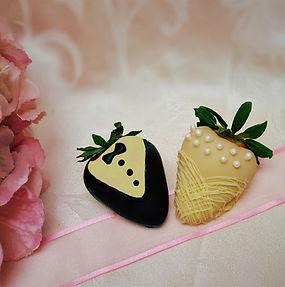 bride & groom strawberries