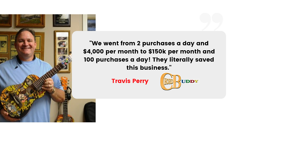 We went from 2 purchases a day and $4,000 per month to $150k per month and 100 purchases a