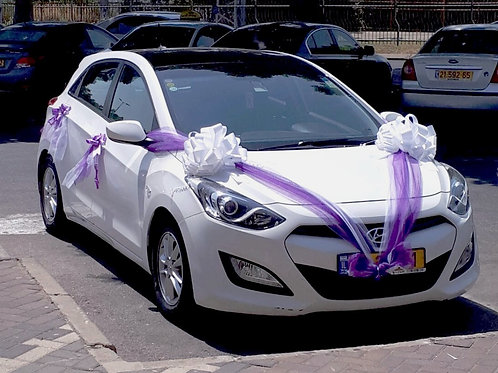 רכב חתונה מקושט עם קישוט מפוואר בחנות פרחים בצפון