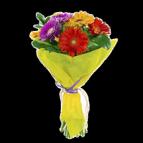 זר פרחים פשוט ומהמם שזור אך ורק מגרברות בשלל צבעים