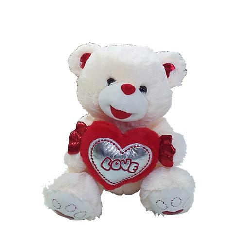 דובי לבן בינוני עם לב אדום