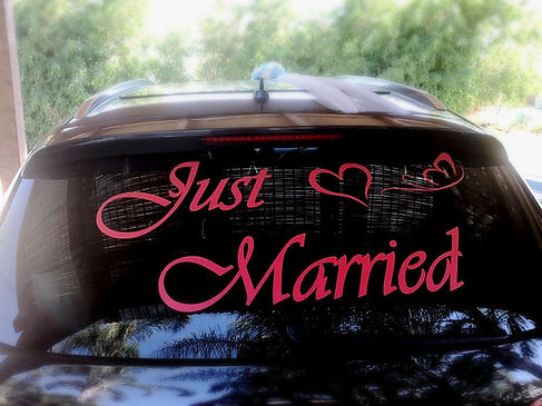 JUST MARRIED מדביקה אדומה לרכב חתונה