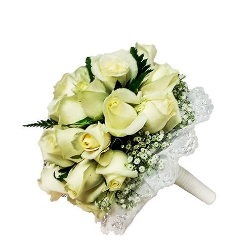 זר כלה 3 מפרחים טריים בשזירה מקצועית