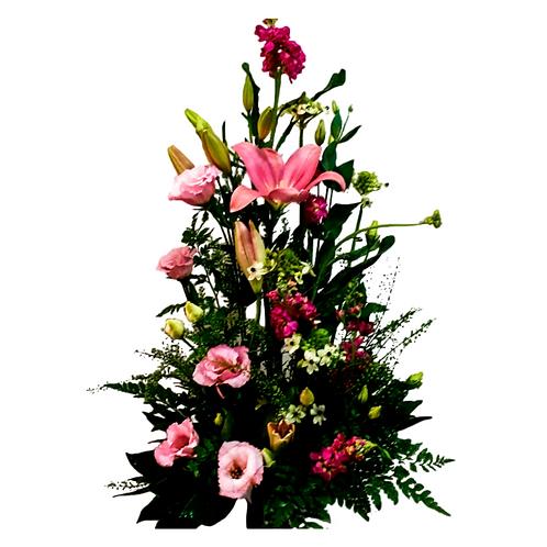 סידור פרחים טריים בשם פנטזיה ורודה