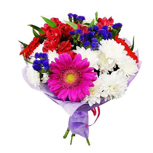 זר פרחים שקיעה בצבעי הגוונים המהפנטים כחול וכתום