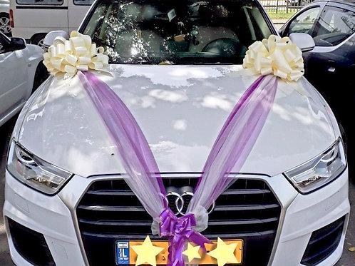 קישוט לרכב חתונה אאודי מקושט בצפון ישראל
