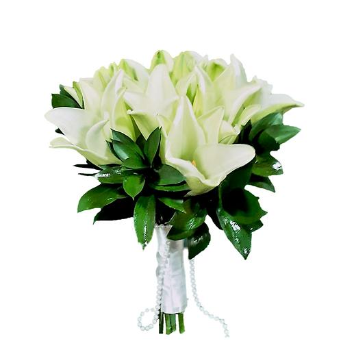 זר כלה 9 מפרחים טריים בשזירה מקצועית