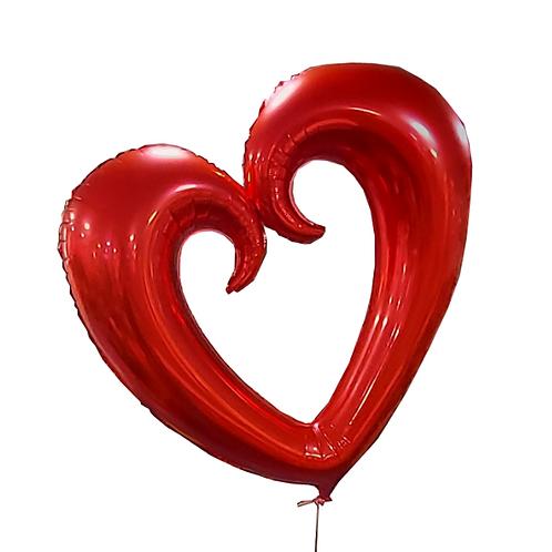 Heart-shaped helium balloon - huge red heart (70 cm)
