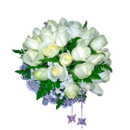 זר כלה 1 מפרחים טריים בשזירה מקצועית