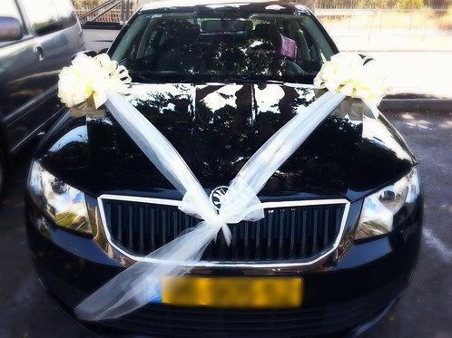 רכב סקודה מקושט לחתונה בחנות פרחים בכרמיאל