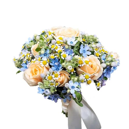 זר כלה 12 מפרחים טריים בשזירה מקצועית