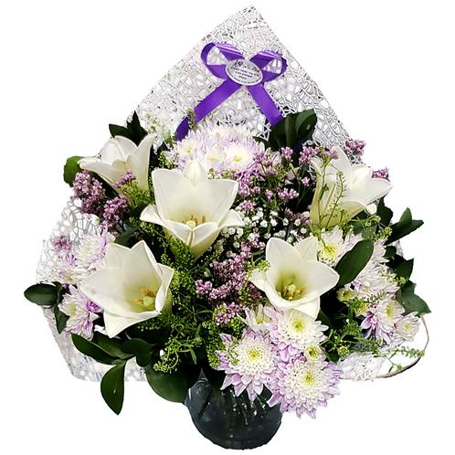זר שושן וחרציות - משלוח פרחים