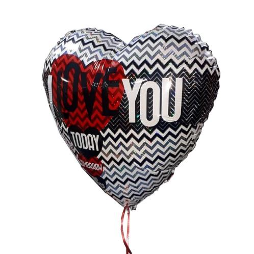 בלון הליום בצורת לב עם כתבה אני אוהב אותך באנגלית - דגם 1