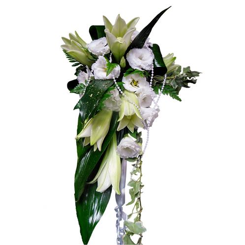 זר כלה 4 מפרחים טריים בשזירה מקצועית