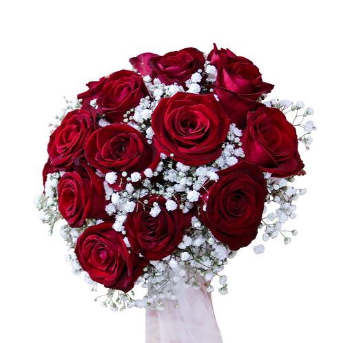זר כלה 10 מפרחים טריים בשזירה מקצועית