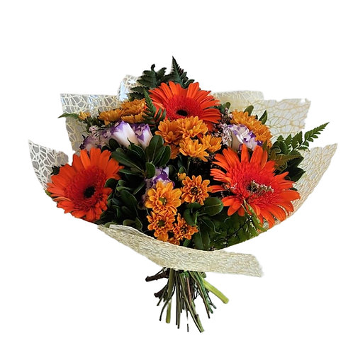 a bouquet woven with chrysanthemums, gerberas, lisianthus and ornamental branches