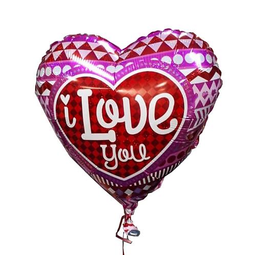 בלון הליום בצורת לב עם כתבה אני אוהב אותך באנגלית - דגם 2