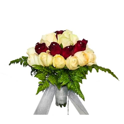 זר כלה 2 מפרחים טריים בשזירה מקצועית