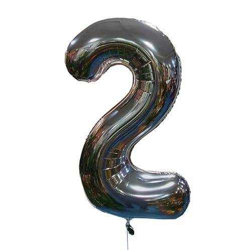 silver helium balloon digit 2
