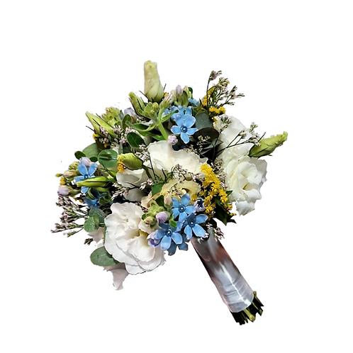 זר כלה 15 מפרחים טריים בשזירה מקצועית