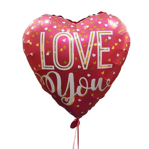 בלון הליום בצורת לב עם כתובת באנגלית אוהב אותך