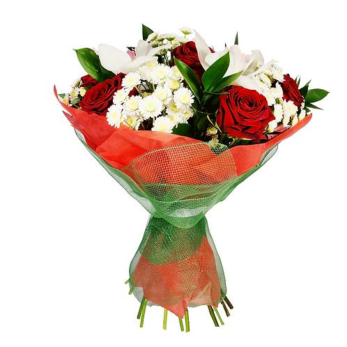 זר פרחים פרחי לימו אלגנטי בגווני אדום ולבן
