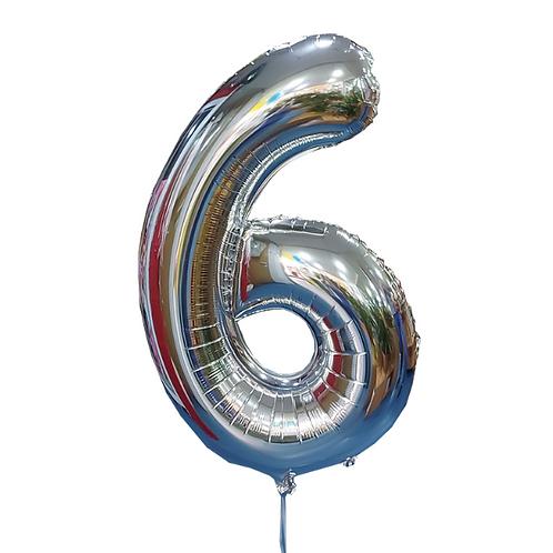 silver helium balloon digit 4