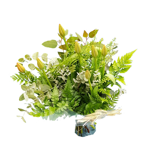 זר פרחים צבעונים שעדיין סגורים מוכן למשלוח