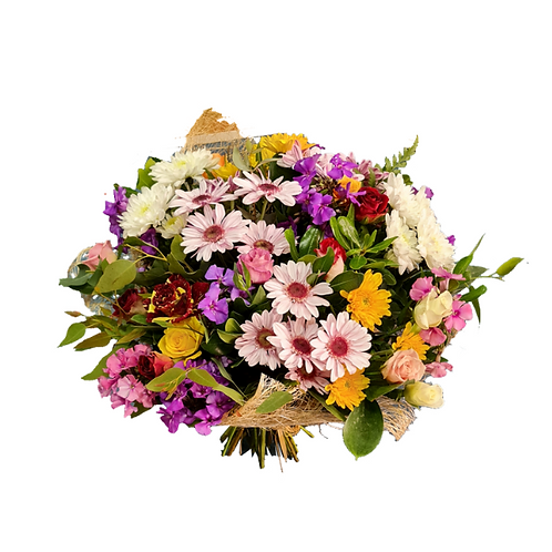 זר פרחים בשם חיבוק בצבעים מוכן למשלוח בצפון