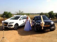 לבן ושחור לחתן וכלה  רכבים מקושטים לחתונה Q7 אוודי